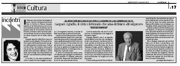 Gaspare Agnello, il critico letterario che ama definirsi «divulgatore»