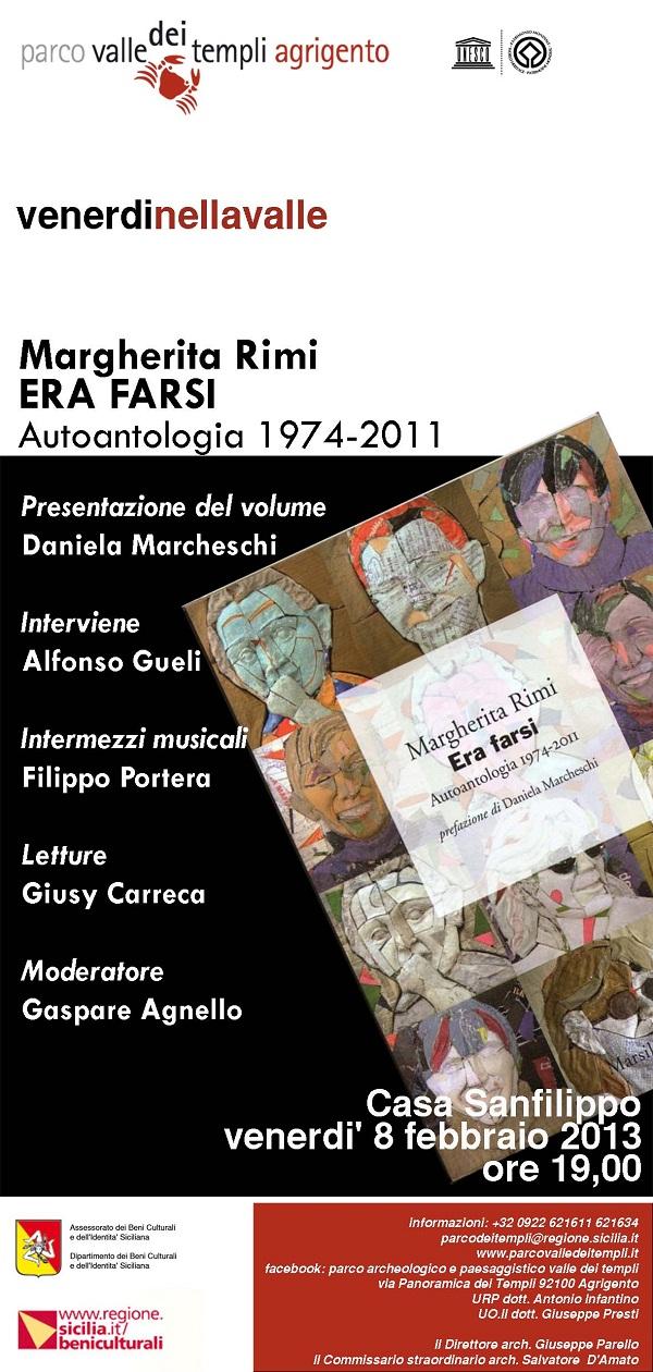 Presentazione di ERA FARSI di Margherita Rimi. Casa Sanfilippo Venerdì 8 Feb. ORE 19