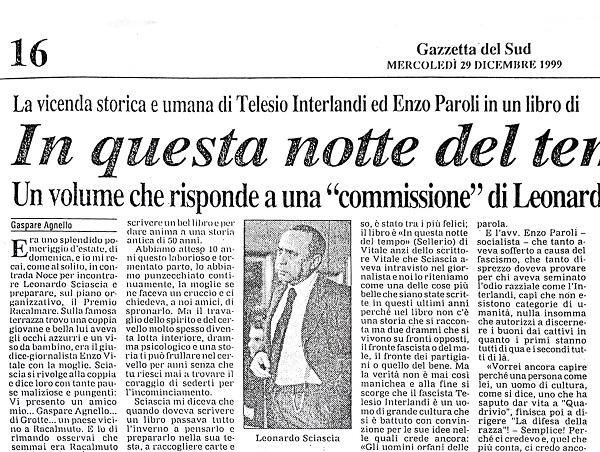 In Questa Notte del Tempo di Gaspare Agnello – Gazzetta del Sud, 29 Dicembre 1999