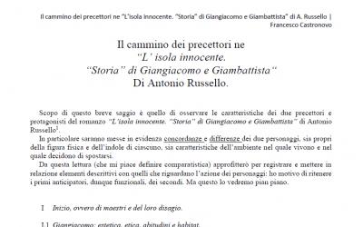 Il Saggio di Francesco Castronovo su L'Isola Innocente